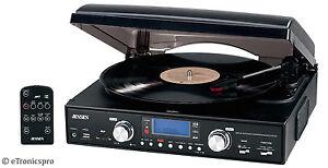 Neue-schwarze-Jensen-Home-Stereo-AM-FM-Radio-3-Stufen-Vinyl-Schallplattenspieler-Plattenspieler