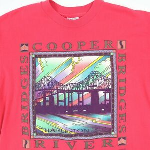Vtg-Cooper-River-Bridge-T-Shirt-LARGE-Pink-USA-Made-Hanes-Single-Stitch-SC