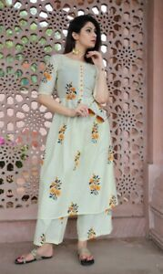 Indian Ethnic Flared Palazzo Kurta Flower Print Floral Kurti Elegant Salwar Kmez