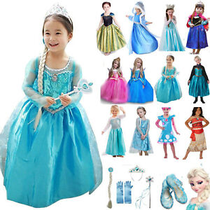 Princess Elsa Dress Fancy Anna Girls Party Kids Child Cosplay Frozen Christmas