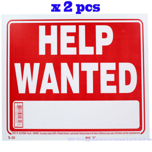 "2 Pcs "" Help Wanted "" 9"" x 12"" Red & White Flexible Plastic Sign Bazic"