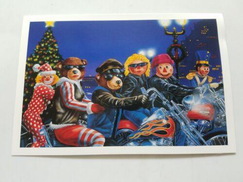 HARLEY DAVIDSON CHRISTMAS CARDS #X322 CHRISTMAS CHARACTERS RIDING HARLEY/'S 10