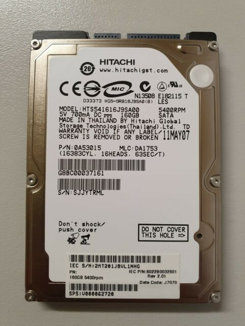 Hitachi GST Travelstar HTS541616J9SA00 160GB Internal Hard Drive For Laptop PS3
