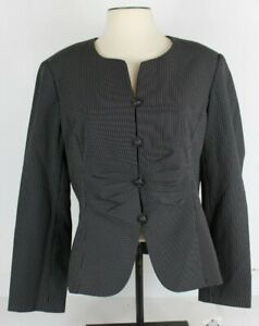 Emily-Womens-16-Blazer-Jacket-Black-Pinstripe-Button-Front-Ruched-532725-NWT