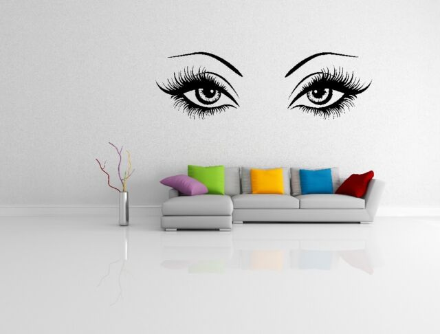 women eyes wall art decal sticker salon 1 w2 black small 55cm - 17cm