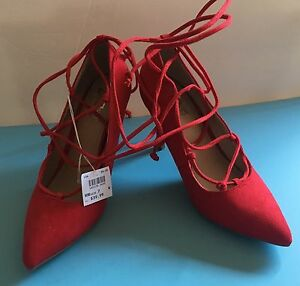 29759476b1b Details about NIB! BRASH KAPULET Red Vegan Suede Pumps Lace Up Sexy Heels  Shoes Women's Sz 7W