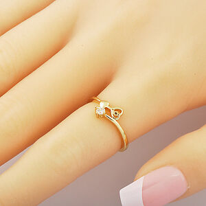 Womens-Wedding-jewelry-Rare-Yellow-Gold-Filled-Clear-CZ-2-Heart-Rings-Size-8-5