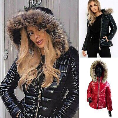 Damen Puffer Jacke Steppjacke Lack Optik glänzend Winter Stehkragen Rot S M L