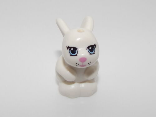 Lego Bunny Rabbit Sitting with Blue Eyes and Pink Nose and Mouth Pattern