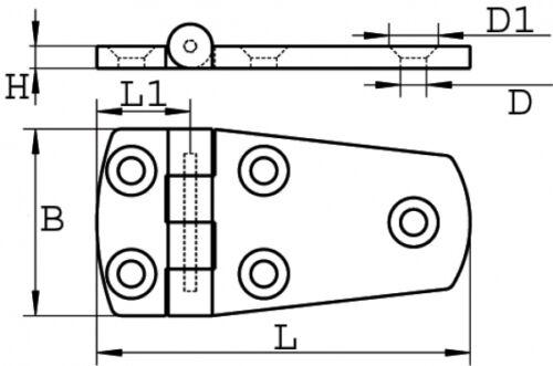 Charnière en Acier Inoxydable Aisi316 Moulage Poli 75 X 38 Arbo-Inox