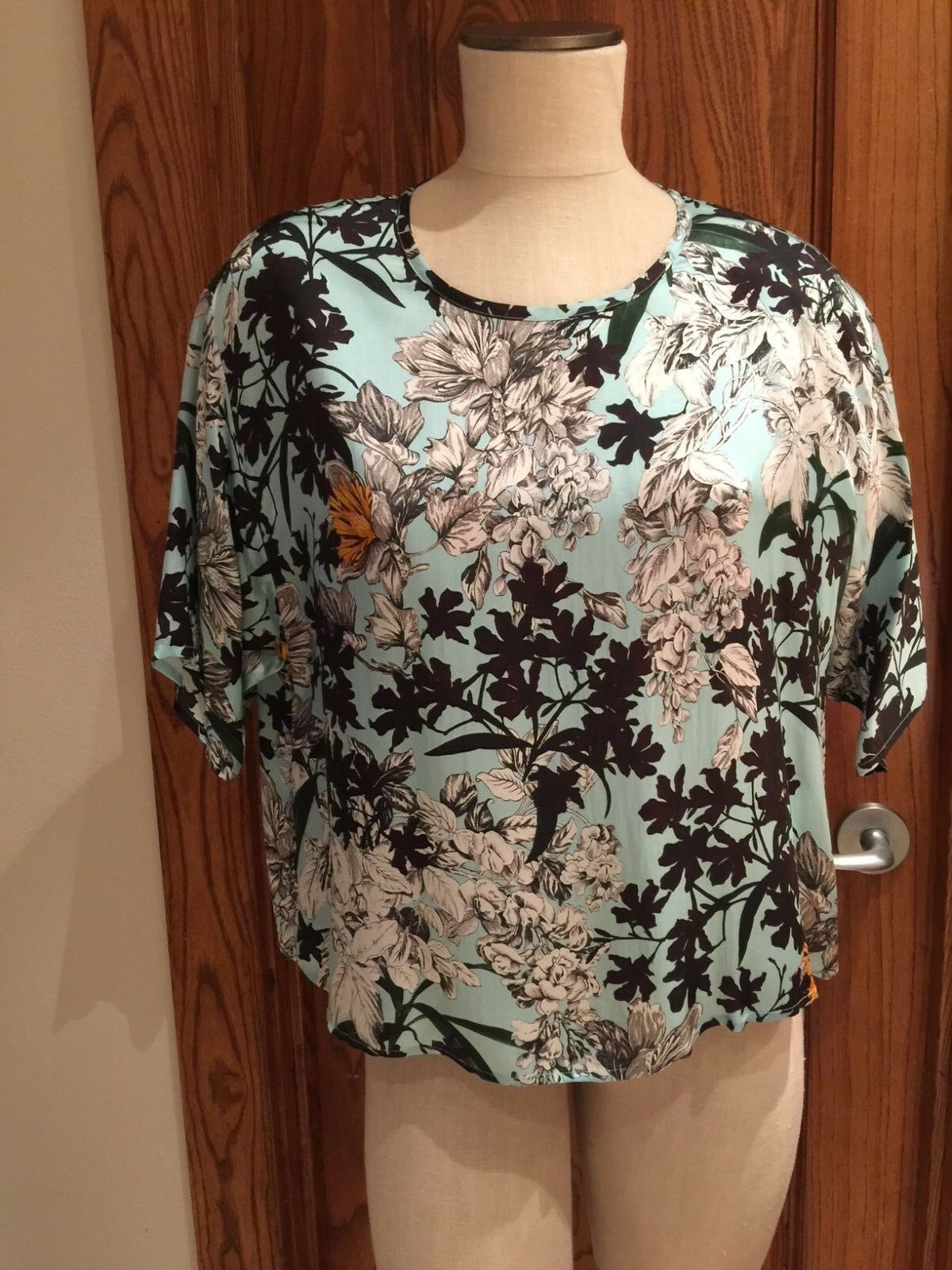 NWT MSGM Neiman Marcus Made in  Aqua Floral SS Blouse sz 40 S  FS