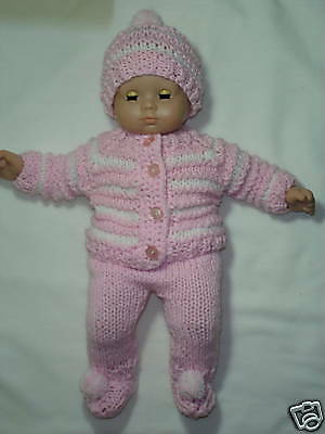 "Soft Pink and White  5 Piece Outfit for Bitty Baby or any 15/"" doll"