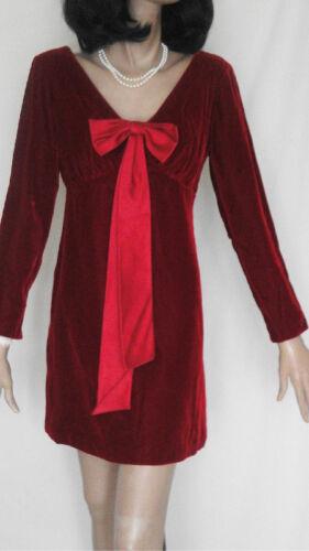 Vintage Mod Burgundy Velvet Mini Dress Satin Bow B