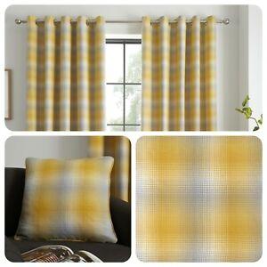 Curtina-Yellow-Grey-Check-Eyelet-Curtains-Drapes-Ochre-Lined-Cushion-Cover