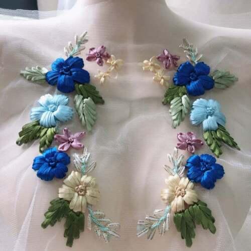 3D Flower Embroidery Bridal Tulle Crochet Ribbon Lace Applique DIY Wedding Dress
