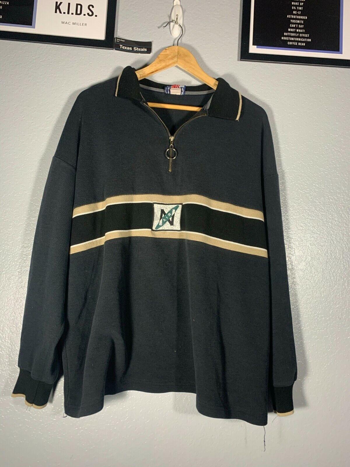 Vintage Base Camp N Air Crewneck Sweatshirt VTG Large L Black Gold