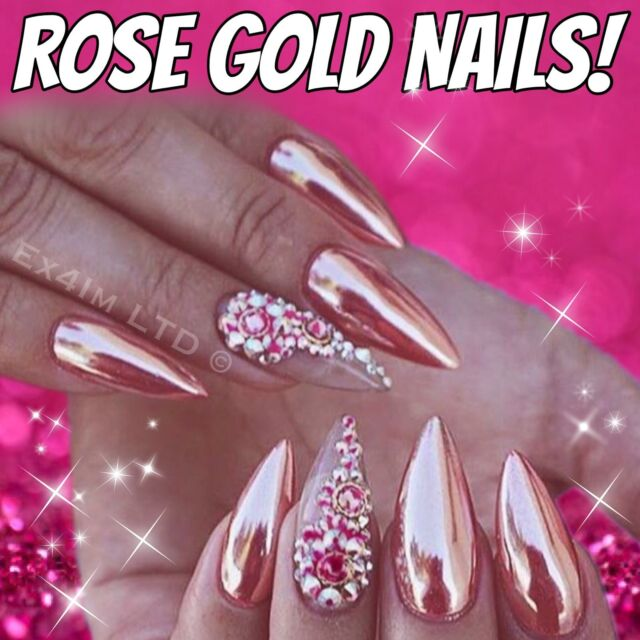Rose Gold Mirror Chrome Powder 3gr Effect Nails Art Pigment Silver ...