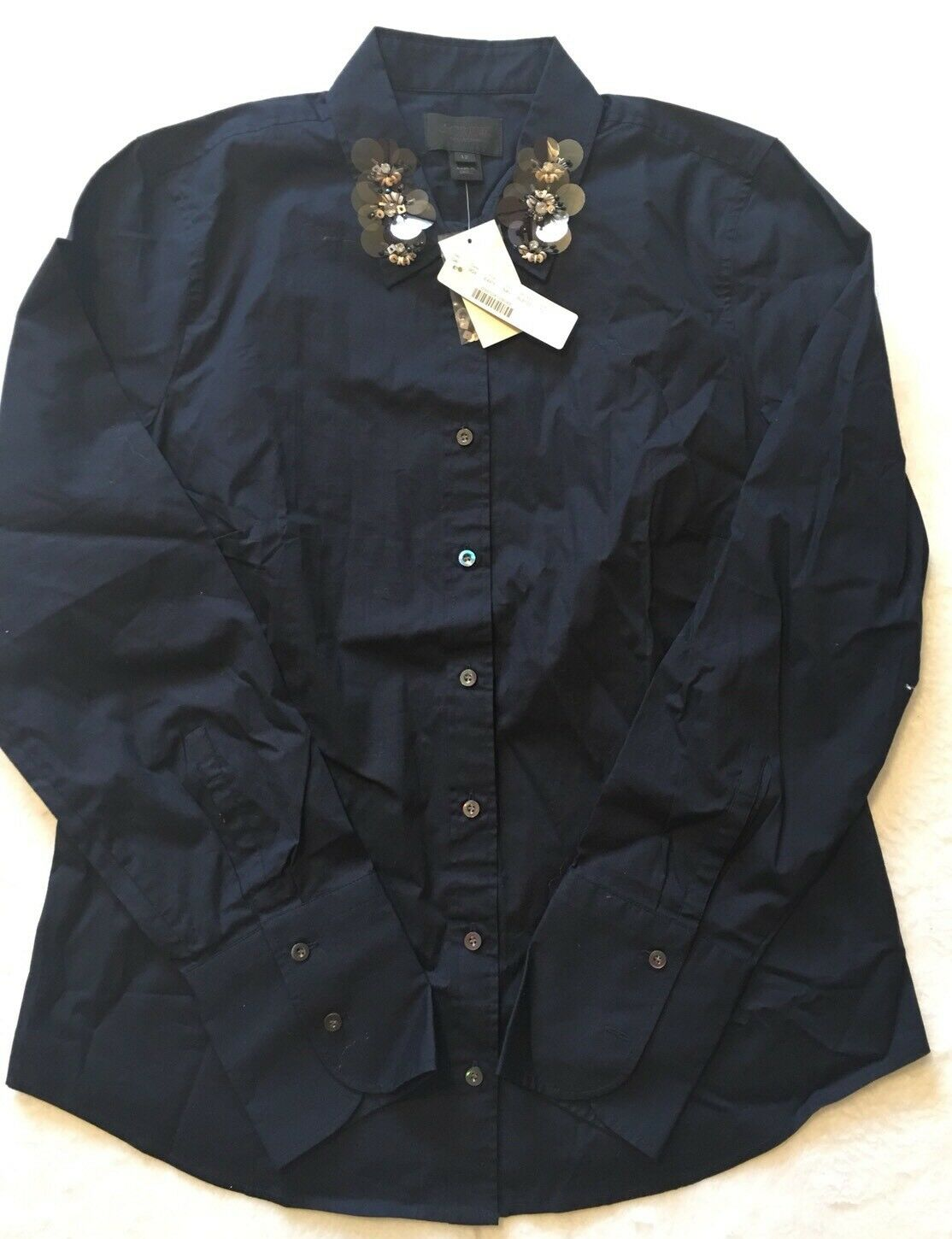 NWT JCREW  Collection perfect shirt with embellished collar Sz12 E4915 Navy