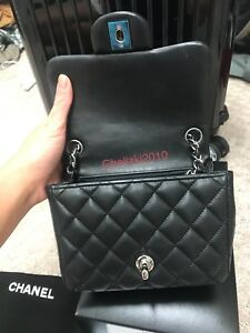 b2efdb177883 Chanel 16S Mini Flap Black Quilted Lambskin Lt Silver HW Square 2.55 ...
