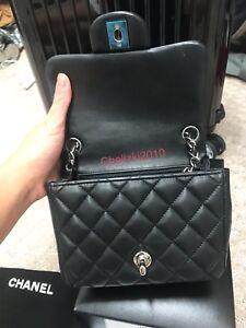 cb441f183cf Chanel 16S Mini Flap Black Quilted Lambskin Lt Silver HW Square 2.55 ...