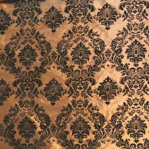 Damask-Flocked-Taffeta-Fabric-58-inches-width-sold-by-the-yard-Brown-Black