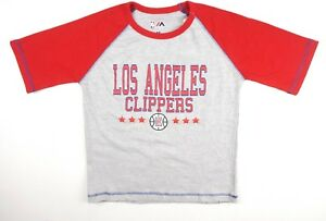 NEW-MAJESTIC-BOYS-NBA-GRAY-RED-3-4-SLEEVES-RAGLAN-LOS-ANGELES-CLIPPERS-T-SHIRT