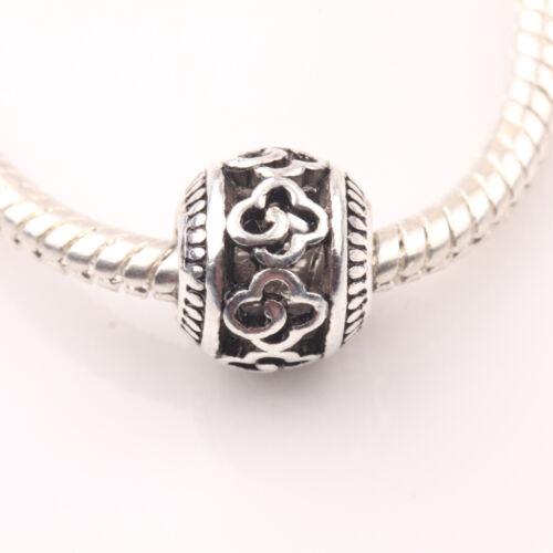 10//20Pcs Tibetan Silver Carved Flower Round Hollow Loose Spacer Beads À faire soi-même 10 mm