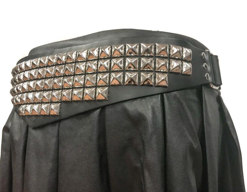 5 Row Stud Triangular Leather Belt Heavy-duty Usa Made Rock Fetish Goth Metal