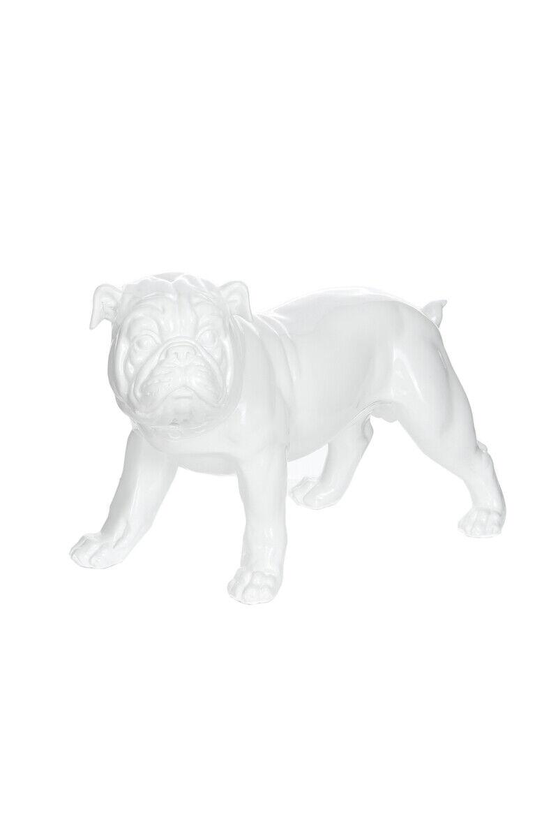 Dekofigur estatua Bulldog estatua decorativas salón alto brillo blancoo