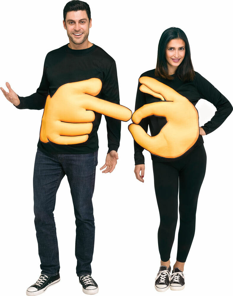 Couples Ladies AND Mens Funny Hand Sign Festival Fancy Dress Costumes Outfits