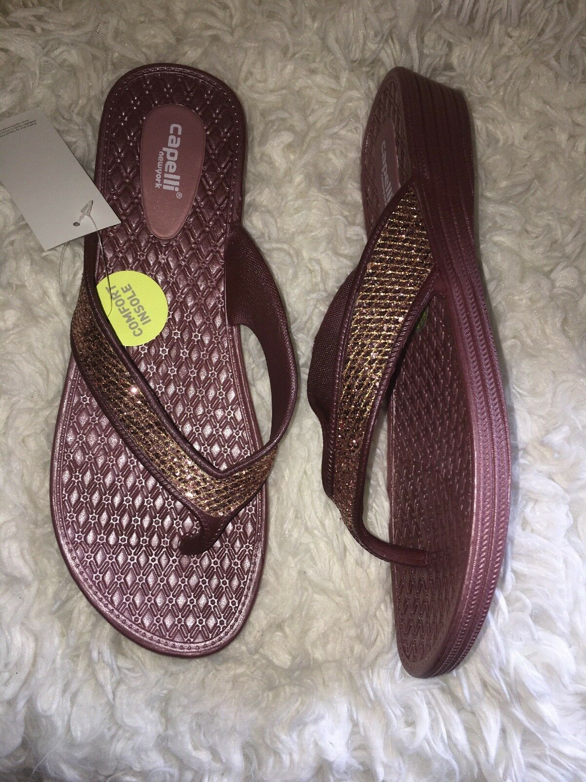 Capelli New York Faux Leather Thong Ladies Flip Flop pink gold sz us 11