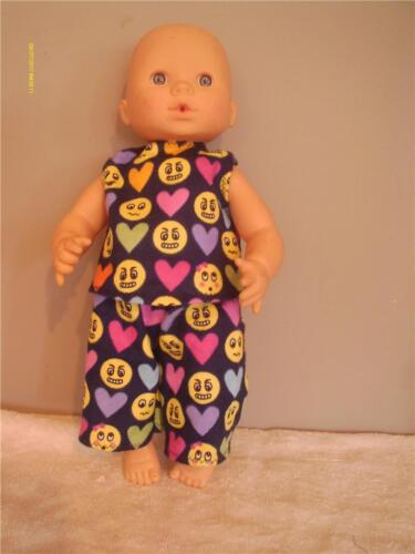 "DOLL CLOTHES BABY DOLL 11/"" 2 PC PAJAMA SET EMOJI PRINT"