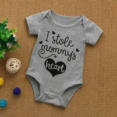 Newborn Infant Baby Kids Boys Girls Letter Short Sleeve Romper Playsuit Clothes