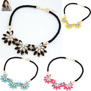 Fashion-Crystal-Flower-Necklace-Choker-Bib-Statement-Chunky-Collar-Jewelry