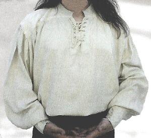 White cotton Medieval shirt. s3A34I