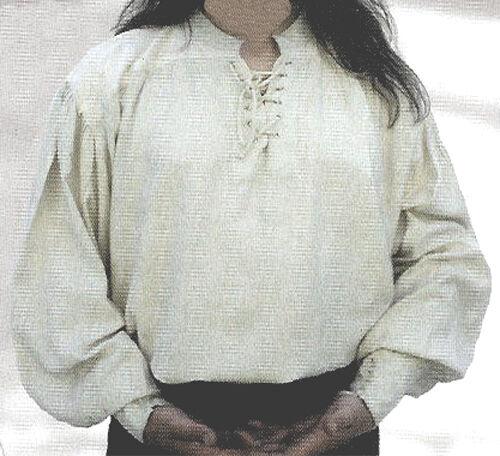 NEW Goth/ Pirate/ Medieval White Cotton Men's Shirt, XL