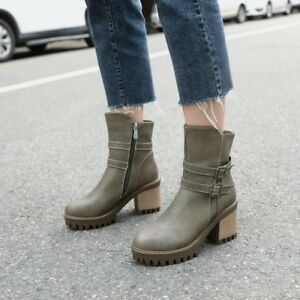 71b4980dd0d364 Image is loading Womens-Punk-Buckle-Motorcycle-Boots-Chunky-Block-Heel-