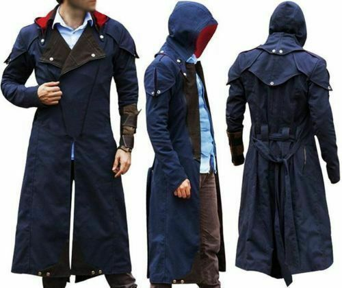 Assassin Creed Unity Costume Denim Cosplay Cloak Coat with Detachable Hood