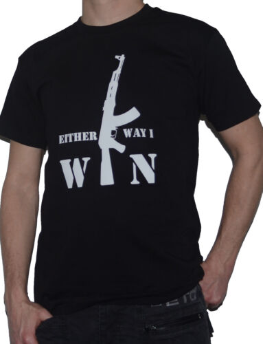Ma Tasse de TEE Either Way I Win-AK47-T-shirt pour guerre fps Gamers