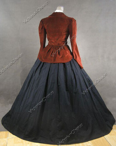 Victorian Dickens Velvet Suit Jacket Dress Gown Theater Steampunk Clothing 166