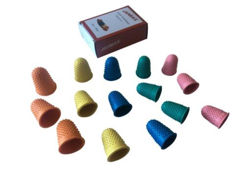 Coloured Thimble Finger Cones Pack of 15 Assorted Size Rubber Thimblettes