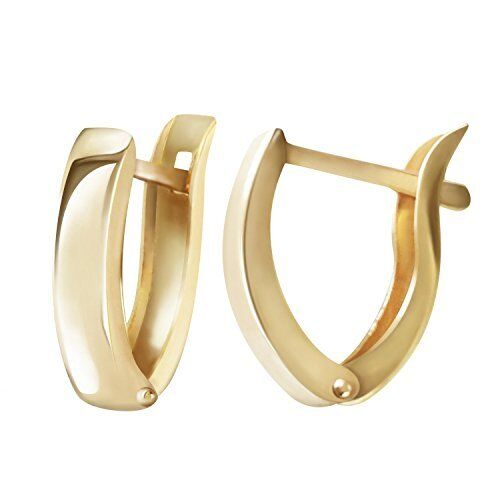 14k Solid Yellow Gold Oval Hoop Huggie Earrings Post With Snap Down Back Finding
