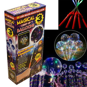3-x-LED-Light-Up-Balloon-Large-12-Clear-Party-Decor-FREE-PUMP-Birthday-Xmas