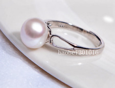 TOP 10mm AAA+++ grade bread white akoya pearl ring 925 silver wedding best  2555