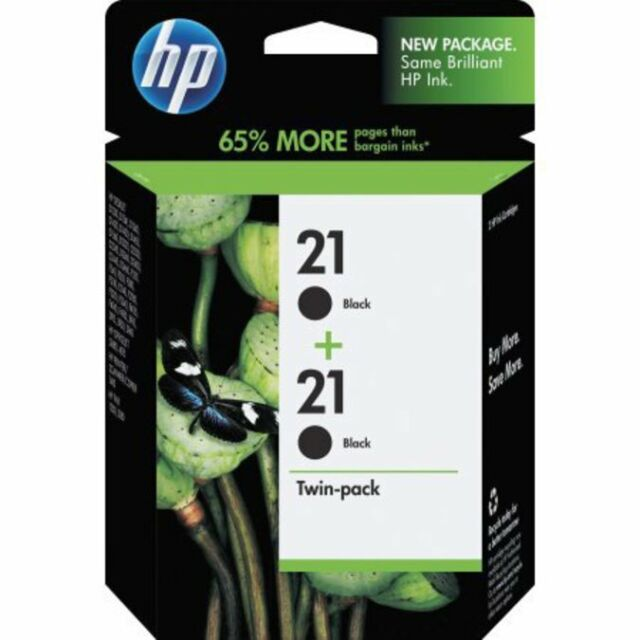 GENUINE FACTORY SEALED RETAIL TWIN  PACKAGE HP 21 (C9508FN)  BLACK INK CARTRIDGE