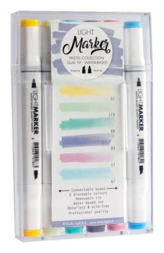 6 Light Marker auf Wasserbasis mit 2 Spitzen Holz ua zum Colorieren von Papier