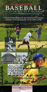 Vin-Scully-Jsa-Hand-Signed-By-8-Ken-Burns-Baseball-Booklet-Authentic-Autograph