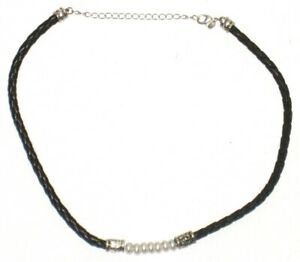 Necklace-Faux-Pearl-Braided-Black-Rope-Chain-Twist-Rope-Leather-Womens