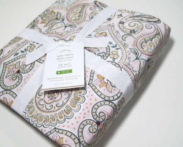 Pottery Barn 350 TC Anya Sateen bluesh Pink Paisley Full Queen Duvet Cover New