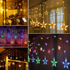 138-LED-Star-Twinkle-Christmas-Display-Party-Wedding-Curtain-Window-Fairy-Lights
